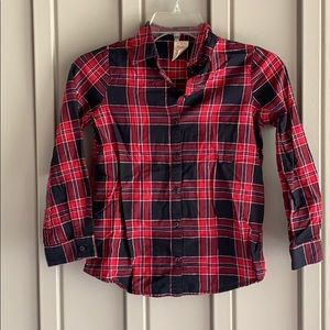 Faded Glory Red & Black Button Down Shirt